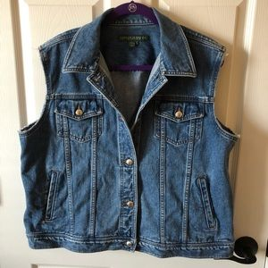 Lauren Jeans Co blue jean vest w/ frayed arm holes
